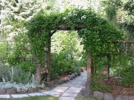 Оригинальная деревянная арка для растений, расположенная на даче