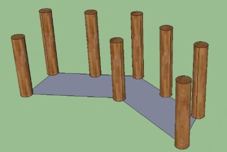 Основание арки очень важно, а потому строим его по разметке и уровню, добиваясь максимальной устойчивости
