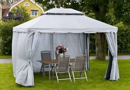 Беседка-навес или беседка-шатер на даче