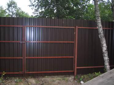 Дачные ворота своими руками возможно сделать и из профнастила!