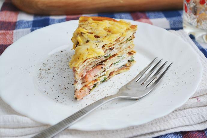 Пирог с рукколой и семгой полюбился многим хозяйкам