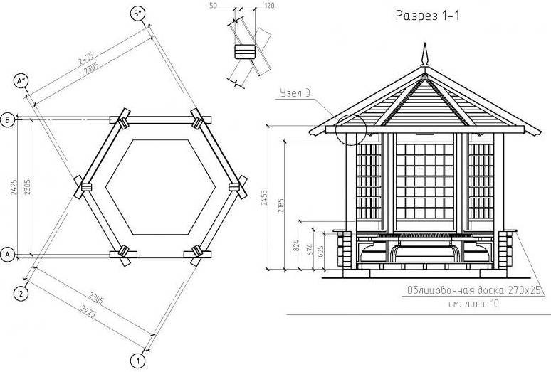 Чтобы правильно самостоятельно составить проект деревянной беседки, необходимо создать грамотный эскиз будущей постройки и рабочие чертежи