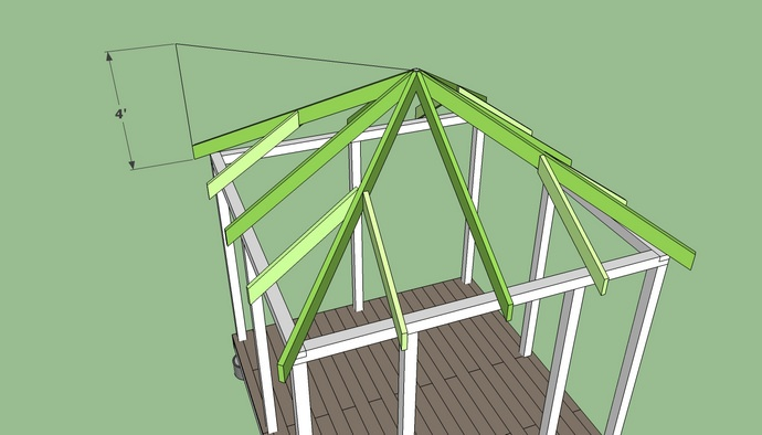 Можно собирать стропильную систему сразу целиком, с последующим подъёмом на конструкцию
