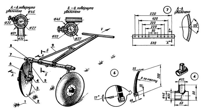 Основная сложность изготовления агрегата представлена необходимостью придать дискам аккуратную сферическую форму при помощи достаточно сильных ударов молотка