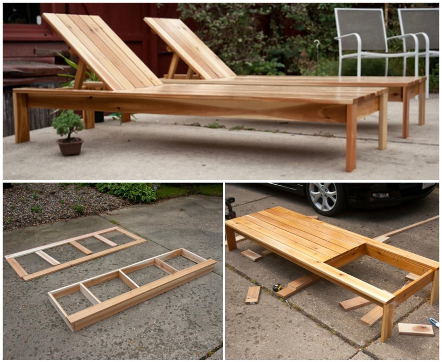 Существует простой вариант самостоятельного изготовления лежака из дерева для загара