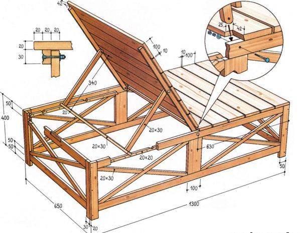 Чертеж и схемы изготовления деревянного шезлонга представлены в большом количестве