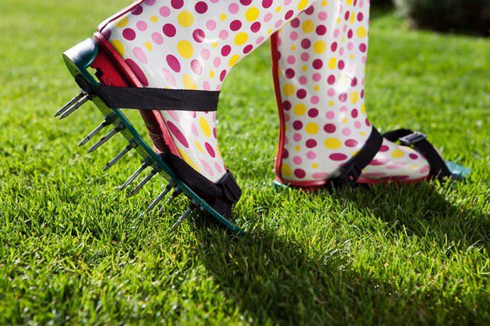 Чтобы обеспечить траве хороший рост, по весне проводится аэрация почвы