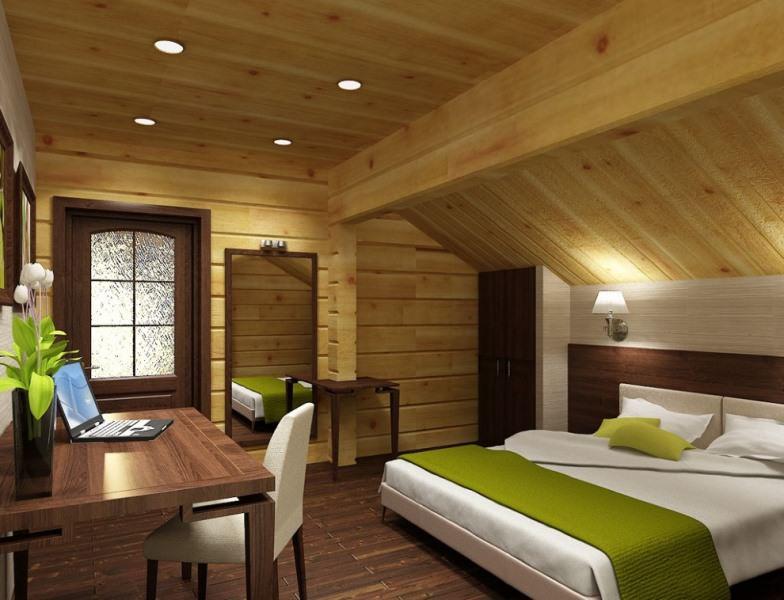 Ремонт мансарды на даче может зависеть от угла наклона потолка