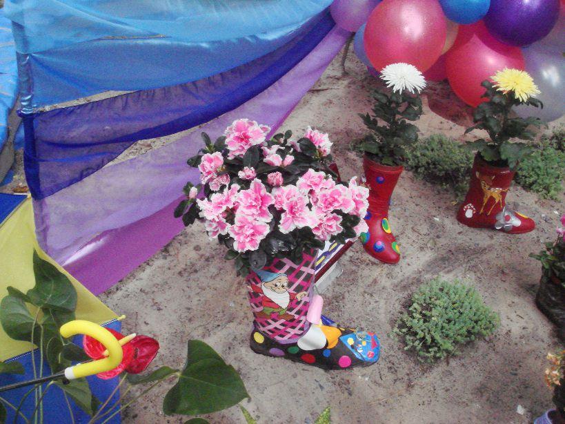 В сапоги надо посадить высокие растения: хризантемы, астры, гиацинты, тюльпаны, лилии, флоксы, пионы, ирисы