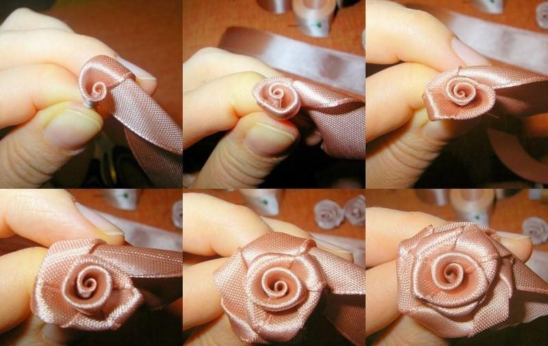 Цветы из атласных лент, для этого полотно шириной 2,5 см разрезают на небольшие отрезки, угол отрезков складывают в виде треугольника и закручивают, повторяют процесс несколько раз, так выходит роза