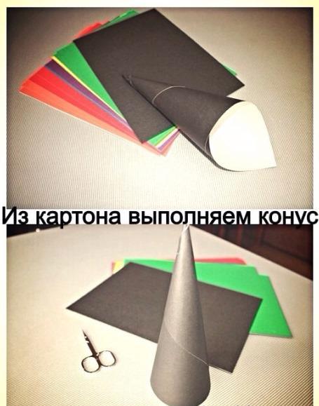 Из картона изготавливают конус, нижний край которого ровно отрезают