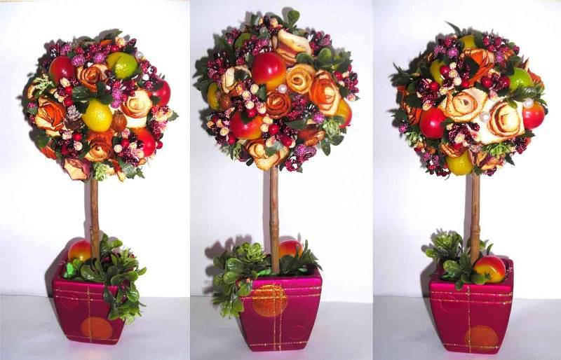 Топиарий из фруктов своими руками: мастер класс, как сделать дерево из искусственных