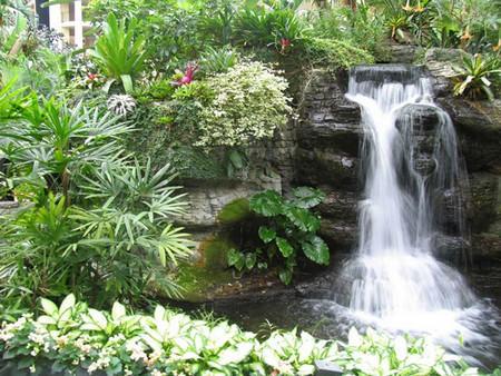 Чтобы сделать свой сад оригинальным и красивым, стоит установить на нем водопад