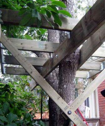 Возможно сооружение специальных распорок, обеспечивающих надежность платформы домика