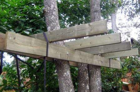 Сооружение основного каркаса дачного домика на дереве