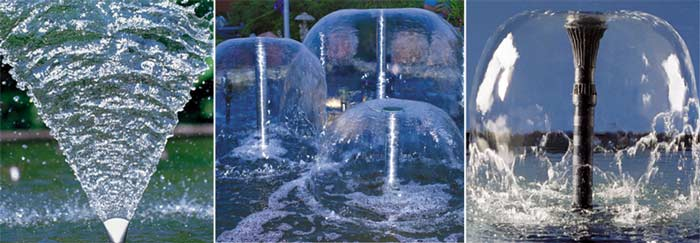 Насадка не влияет на высоту струи, это определяется мощностью используемо насоса, который подает к ней воду