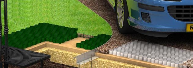 Газонная решётка с высотой 4-5 см используется в оформлении газонов с малыми или средними нагрузками
