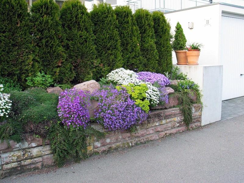 Каменный забор с цветами — очень необычно для современной дачи!
