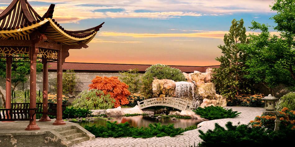 Китайский стиль сада — это чаще всего пейзажный сад, в котором каждый архитектурный элемент имеет свое символическое значение
