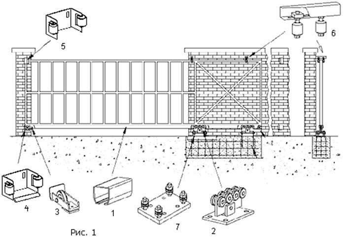 Сборка откатных ворот: размещение деталей, креплений, направляющих, фиксаторов