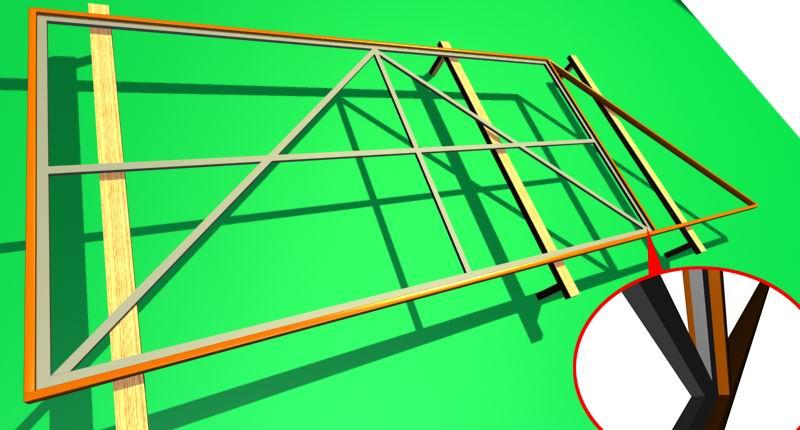 Стандартная подвижная секция из металла для откатных ворот