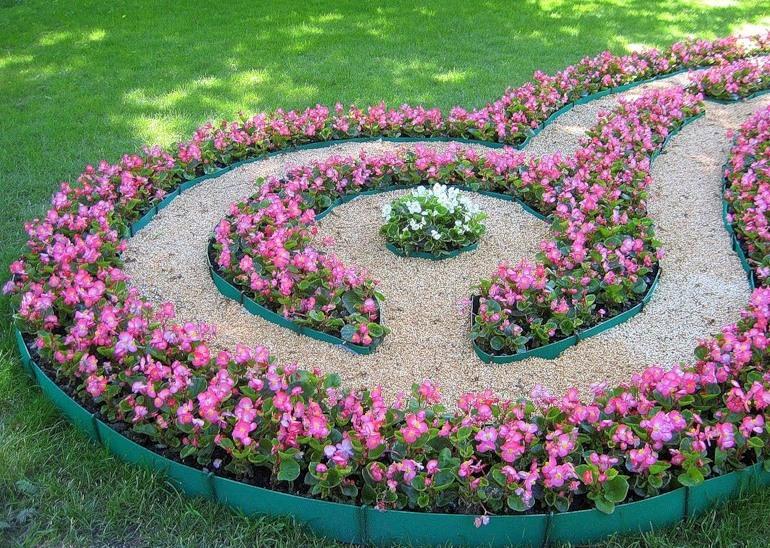 Это очень оригинальная организация цветника, цветы, образующие лабиринт, высаживается обычно по спирали