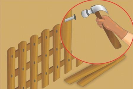 Установка заборов из деревянного штакетника