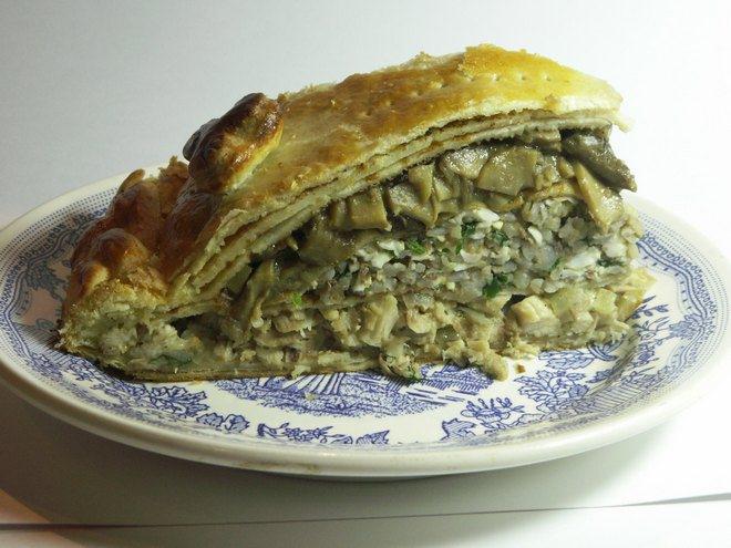 торт блинный с грибами рецепт с фото