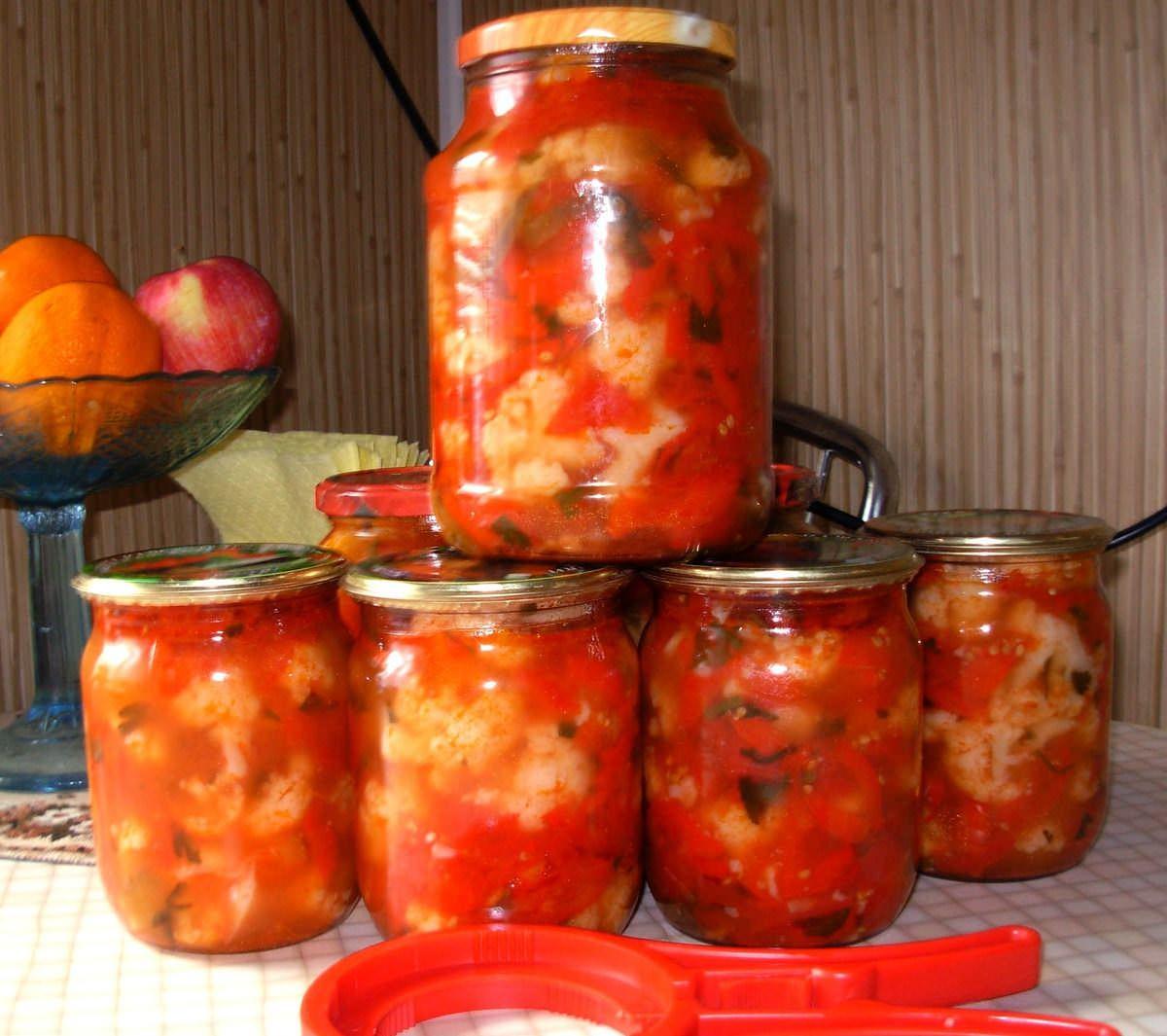 цветная капуста с помидорами консервация на зиму