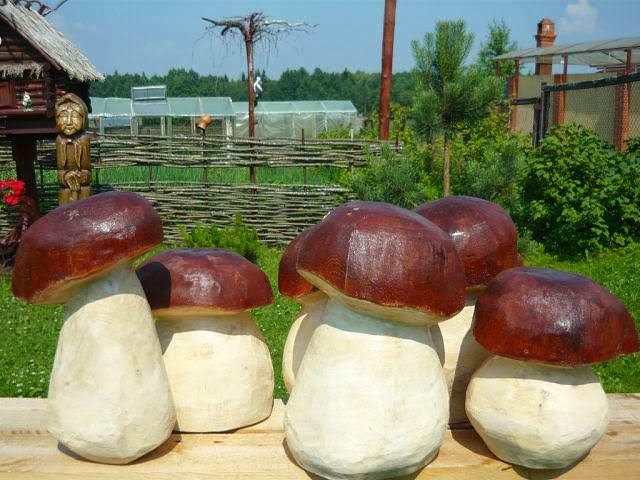 Грибы из гипса для сада своими руками