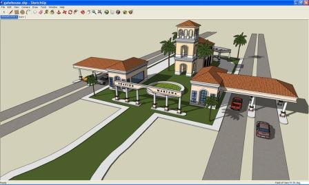 Интерфейс программы для ландшафтного дизайна Google SketchUp