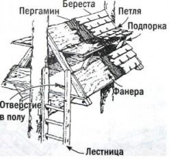 Как можно видеть, построить шалаш собственноручно не так...  Окна-люки и крыша - многослойные.  Первый из слоев - это...
