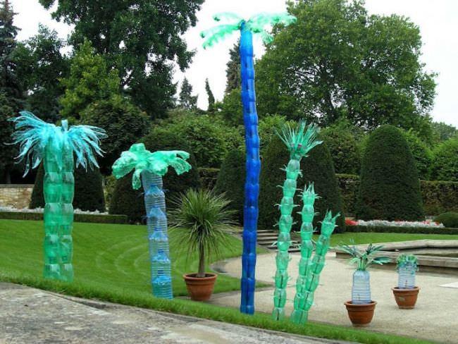 Строим экзотические пальмы из пластиковых бутылок, используя свободное время и фантазию!