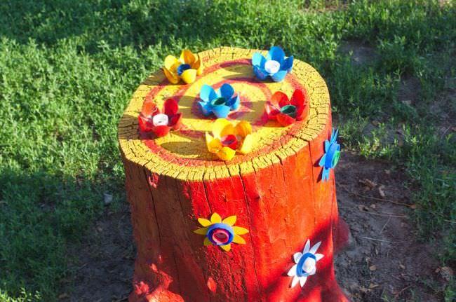 Как декорировать любой пень или спил в саду, чтобы не потратить много денег и времени