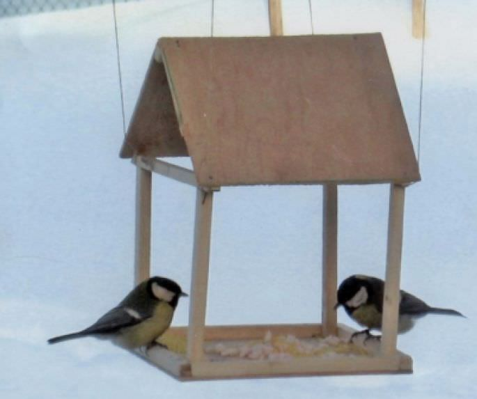 Кормушка для птиц из фанеры или ДВП — простая и легкая конструкция