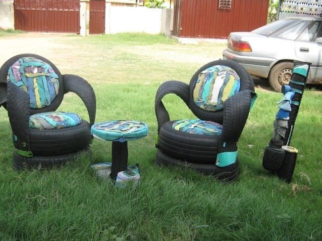 Практически бесплатная дачная мебель из старых автопокрышек