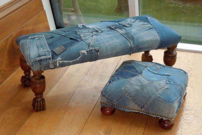 Еще одна удобная и практичная вещь – чехол на пуфик из джинса