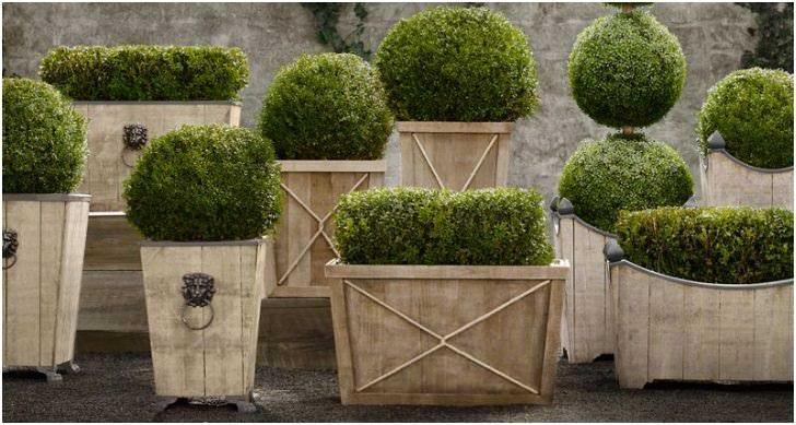 Деревянные ящики и контейнеры для цветов в саду