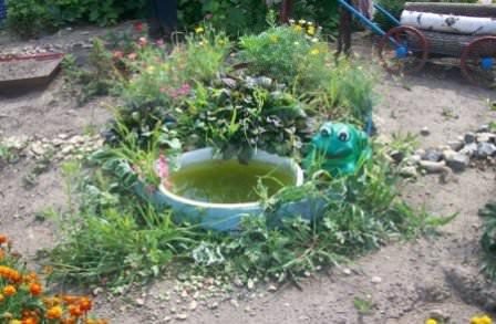 Оригинальный дачный водоем из старого пластикового тазика