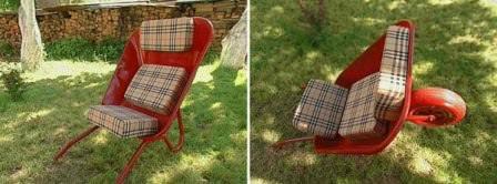 Вторая жизнь старой дачной тележки, которая превращается в удобное кресло