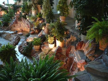 Удачно смотрятся любые растения на фоне природного камня