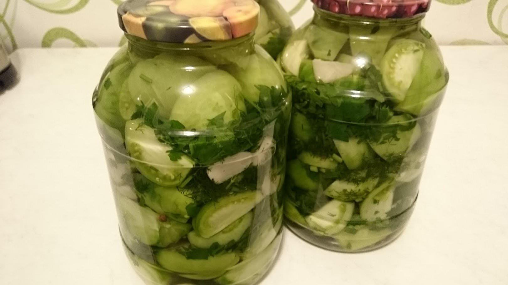 Салат из зеленых помидоров очень вкусные рецепт