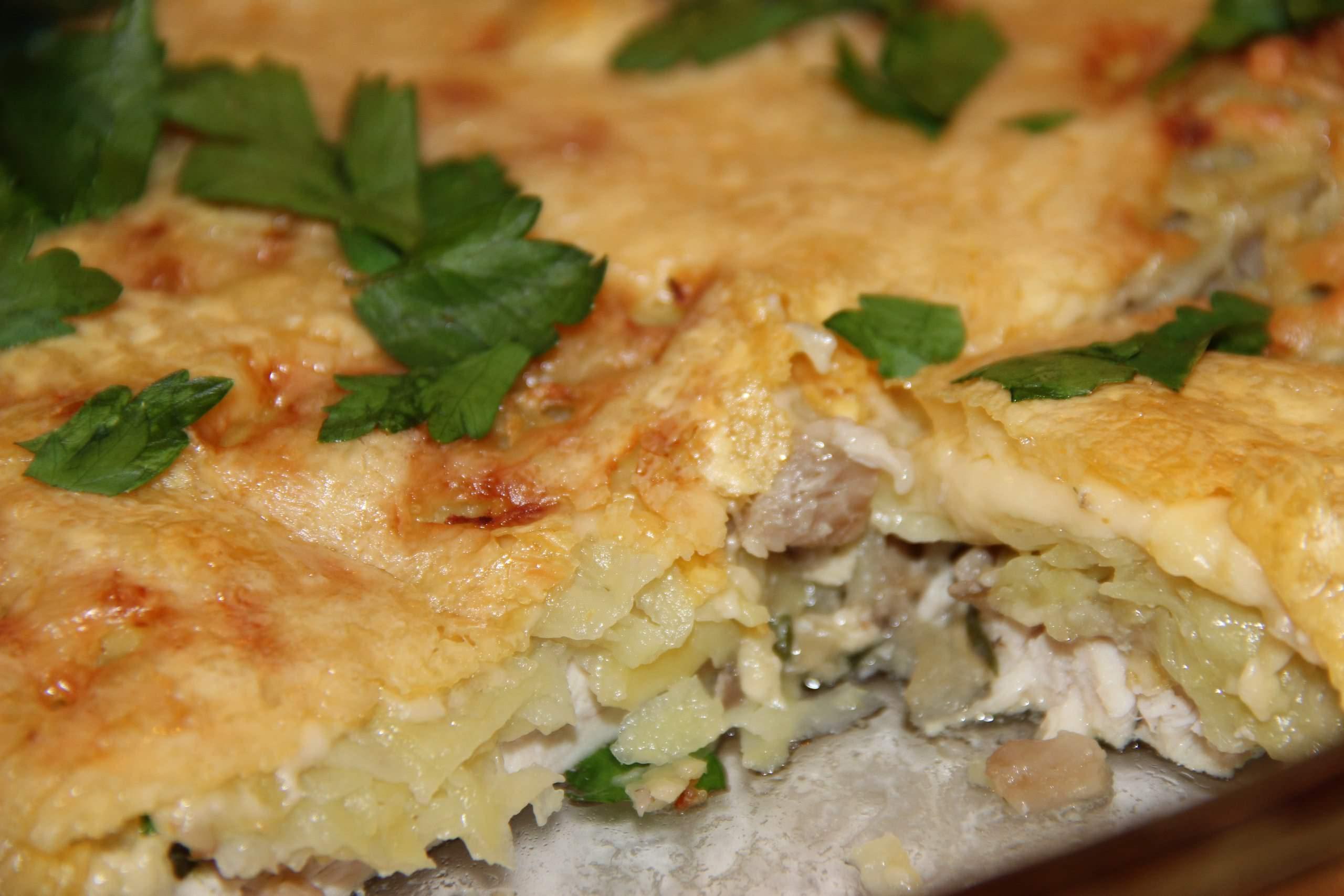 Запеченные грибы с картошкой и курицей в духовке рецепт с пошагово
