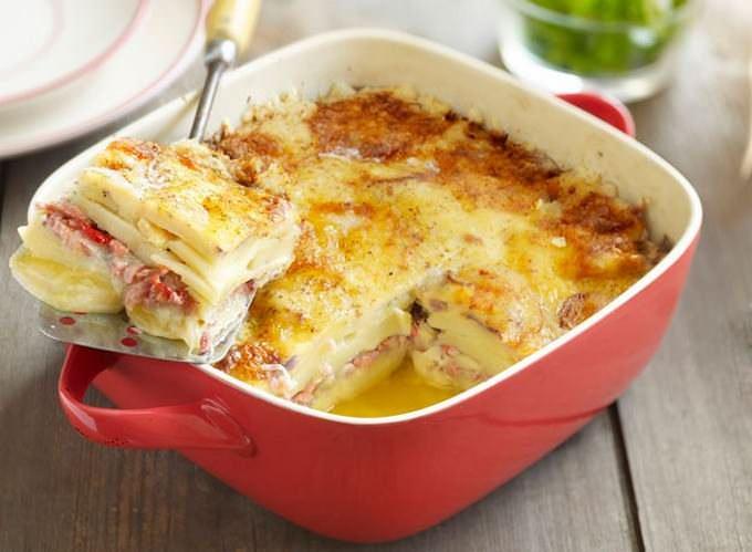 картошка с рыбой со сливками в духовке рецепт